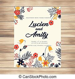 Wedding Invitation With Flowers Vanilla Background Vector Image