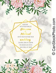 Floral wedding invitation with gold geometric frame, flowers, herb in watercolor style on white marble. Greenery botanical A4 template with text place for invite, greeting, birthday card and covers.