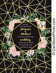 Floral wedding invitation with gold geometric frame, flowers, herb in watercolor style on black background. Greenery botanical template with text place for invite, greeting, birthday card and covers.