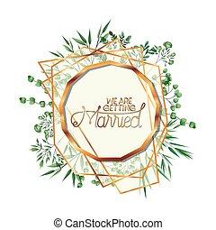 wedding invitation with golden frame
