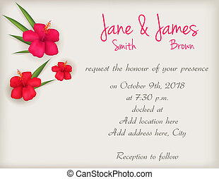 Wedding invitation with hibiscus flowers