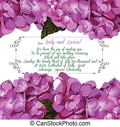 Wedding invitation with hydrangea for your design. Vector.