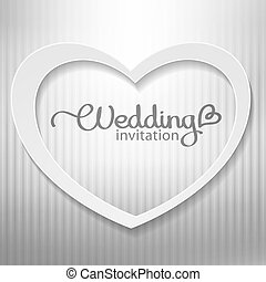 wedding invitation with paper heart and silver background
