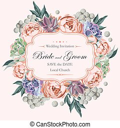 Wedding invitation with peony roses and succulents - Vector ...