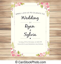 Wedding Invitation With Pink Roses Vanilla Background Vector Image