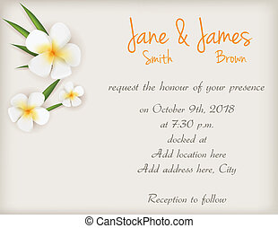 Wedding invitation with plumeria flowers