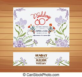 wedding invitation with purple