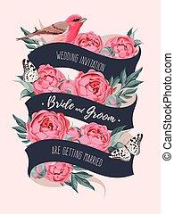 Wedding invitation with ribbon - Vector wedding invitation...