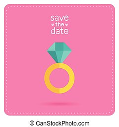 Wedding invitation with ring