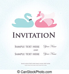 Wedding invitation with two cute swan birds in bride and groom costumes