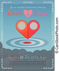 Wedding invitation with two pointer to heart concept