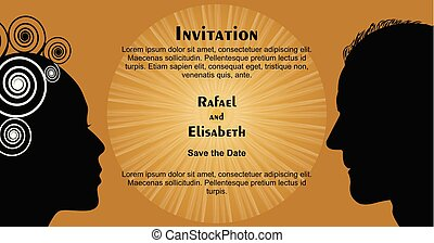 Wedding invitation with woman and man face silhouettes, black head silhouette on gold background with sun shape, Save the date
