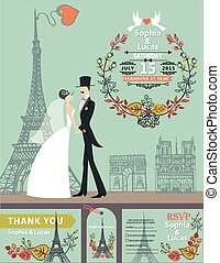Wedding invitation.Bride, groom,autumn wreath,Eiffel tower -...