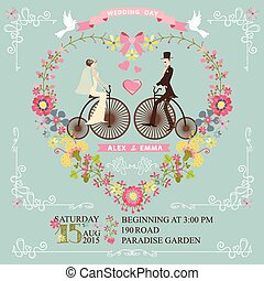 Wedding invitation.Bride,groom on retro bike,floral heart -...
