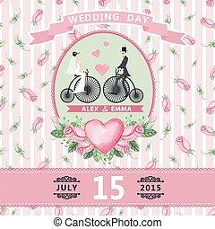 Wedding invitation.Bride,groom,watercolor roses,retro bike -...
