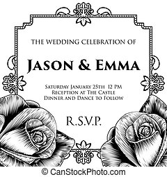 A wedding invitation invite save the day template featuring roses woodcut flowers in a vintage retro engraved etching style. Can be used for different events with different text.