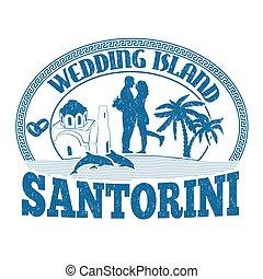 Wedding Island, Santorini, stamp or label
