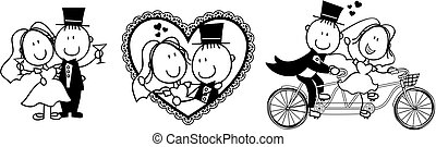 wedding ivite funny - set of isolated cartoon couple scenes...