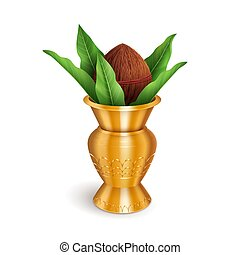 Wedding Kalash, coconut in golden pot isolated on white. Hindu and Jain symbol of abundance, wisdom, and immortality. Vector illustration