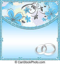 wedding, karte, mit, a, blumen muster