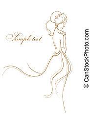 wedding, karte, mit, schöne , braut, weiß, hintergrund,...