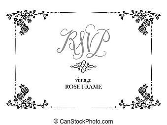 wedding, karte, von, rosen