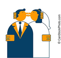 Wedding kiss. Bride and groom. Vector illustration