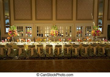 wedding, kopf, tisch