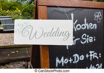 Wedding label on a chalk board