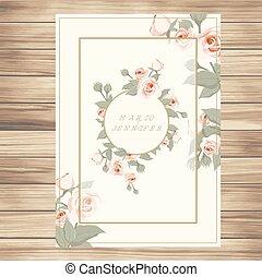 Wedding Label Pink Roses Vanilla Background Vector Image
