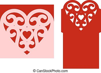 wedding laser cut - Wedding envelope template with heart for...