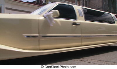 Wedding limousine parking on the street
