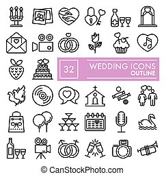 Wedding line icon set, love symbols collection, vector sketches, logo illustrations, celebration signs linear pictograms package isolated on white background, eps 10.