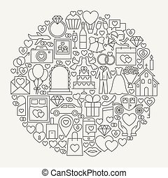 Wedding Line Icons Circle