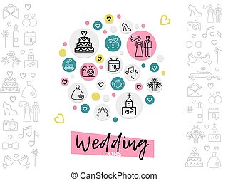 Wedding Line Icons Concept