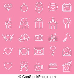 Wedding line icons on pink background