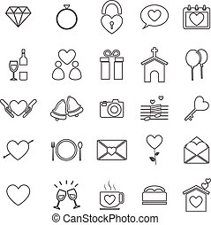 Wedding line icons on white background