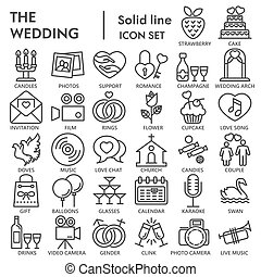 Wedding line SIGNED icon set, love symbols collection, vector sketches, logo illustrations, celebration signs linear pictograms package isolated on white background, eps 10.