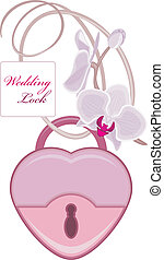 Wedding lock with blooming orchids