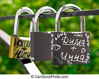 Wedding locks - Three locks with inscriptions in Russian,...