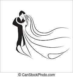 Wedding logotype. Man and woman silhouette in dance. Love valentine background. Vector illustration.