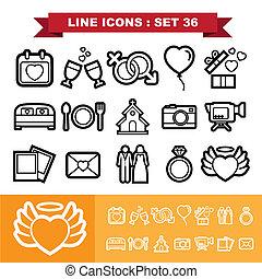 Wedding love Line icons set 36