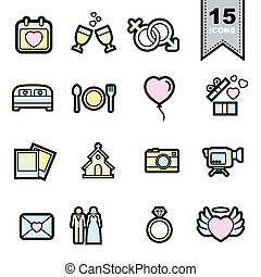 Wedding love Line icons set