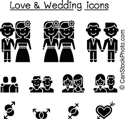 Wedding & Loving icon set