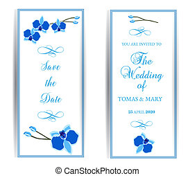 Wedding marriage event invitation template set with blue orchid