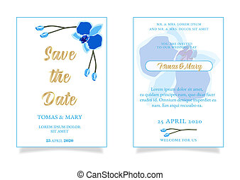 Wedding marriage event invitation template with blue orchid