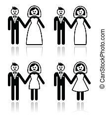 Wedding, married couple, bride and