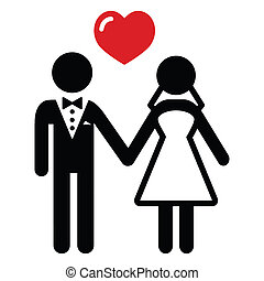Newlywed couple black simple icon with heart