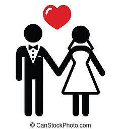 Wedding married couple icon - Newlywed couple black simple...