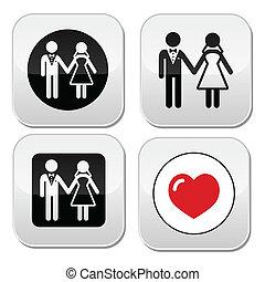 Wedding married couple white icon s